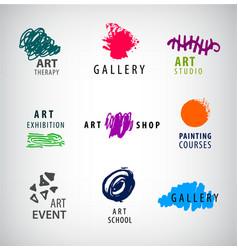 set of art logos gallery art school vector image vector image