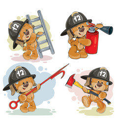 Set of teddy bears firefighters cartoon characters vector
