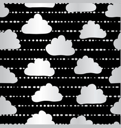 silver foil clouds sky seamless pattern vector image