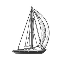 Single sail yacht boat sketch vector