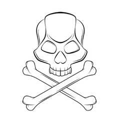 Skull and crossbones isolated outline vector image