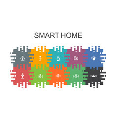 Smart home cartoon template with flat elements vector