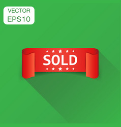 Sold ribbon icon business concept discount sale vector