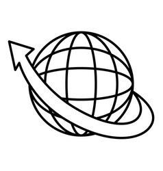 sphere planet with arrow around vector image