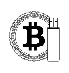storage bitcoin line style vector image