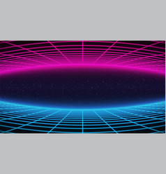 Synthwave background retro futuristic 80s style vector
