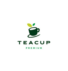 tea cup leaf logo icon vector image