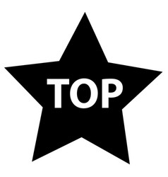 top star on white background flat style black vector image