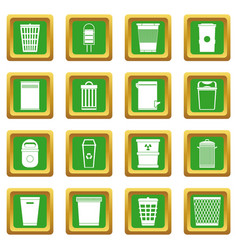 Trash can icons set green vector