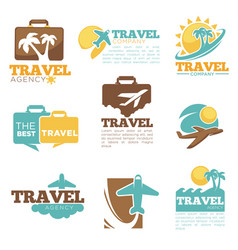 Travel agency icon templates tourism bag vector