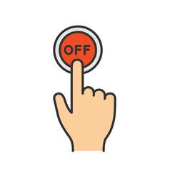 Turn off button click color icon vector