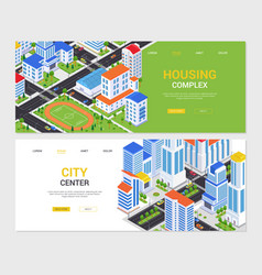 urban landscapes - set colorful isometric web vector image