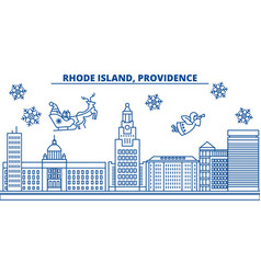 Usa rhode island providence winter city skyline vector