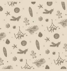 vintage handdrawn christmas pattern vector image