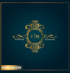 Wedding logo design template initials letter fm vector