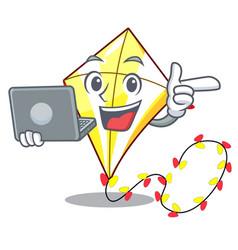 With laptop kite cartoon fly away in sky vector