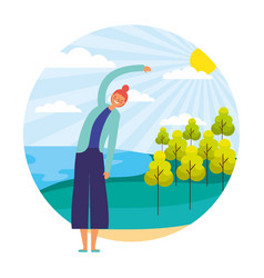 woman daily routine outdoors vector image