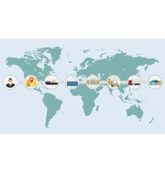 world map concept cargo logistics delivery vector image