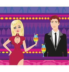 Young couple flirt and drink champagne in club vector