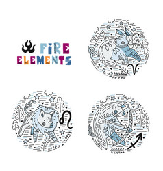 zodiac fire elements set vector image