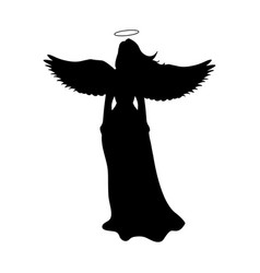angel silhouette christmas religious christian vector image vector image
