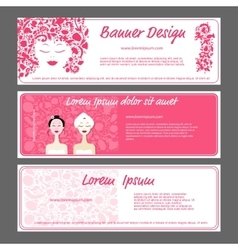 Banner template beautiful female face vector image