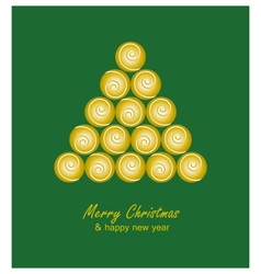 Christmas card with golden tree and balls on green vector image vector image