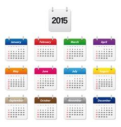 Colorful calendar 2015 vector image vector image