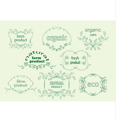 Green floral labels for natural products vector