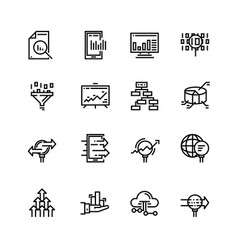 simple set of data analysis related line vector image