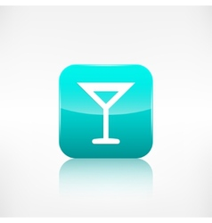 Wine glass web icon Application button vector image vector image