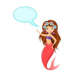 beautiful mermaid with speech bubble vector image vector image