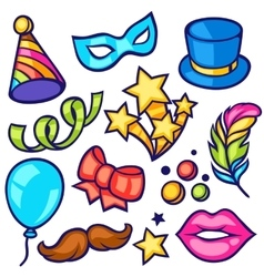 Celebration carnival set of icons and objects vector image vector image