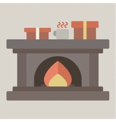 Christmas fireplace with gifts flat vector image