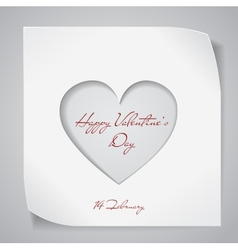 Valentines Day background with cutting heart vector image vector image