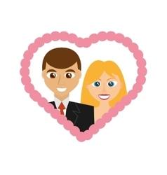 cartoon wedding couple smiling frame heart design vector image
