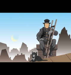 cat and the chimney sweep vector image