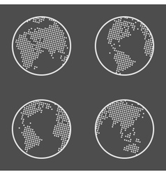 Earth Globe Emblem Icon Set vector image