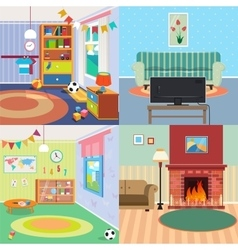 Home Interiors Set Children Bedroom Living Room vector image