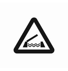 Lifting bridge warning sign icon simple style vector image