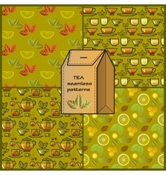 Seamless patterns set with tea cup pot lemon and vector image vector image