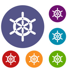 ship wheel icons set vector image