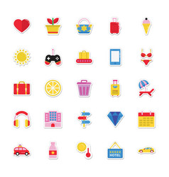 Summer and holidays icons 3 vector