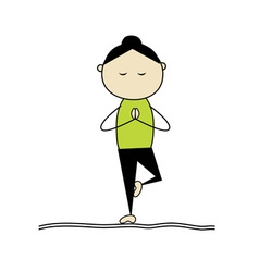 woman practicing yoga tree pose vector image
