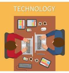 Workplace office desk IT technology and web design vector image vector image