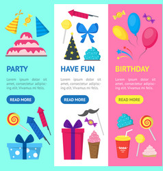 cartoon party holiday banner vecrtical set vector image vector image