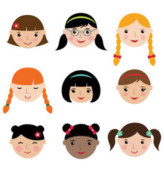 Cute girls faces set vector image vector image