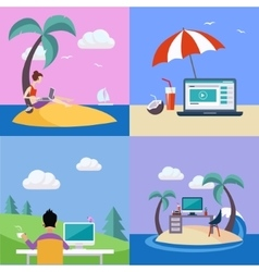 Distant Work On Holidays Set vector image