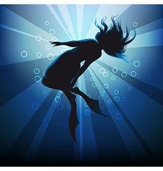diving girl in flippers against ocean background vector image vector image