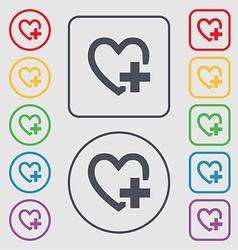 Heart sign icon Love symbol Symbols on the Round vector image